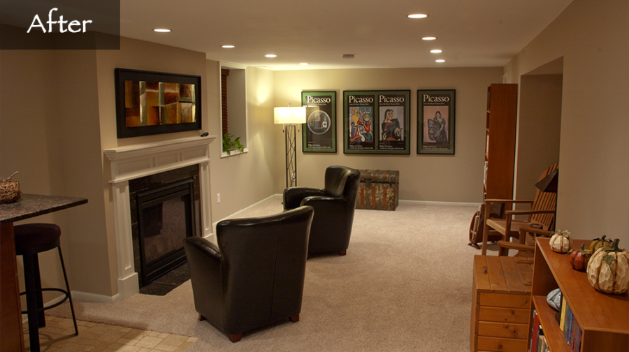 Jacobson Construction New Fireplace Transforms Cold Basement into Warm Family Room